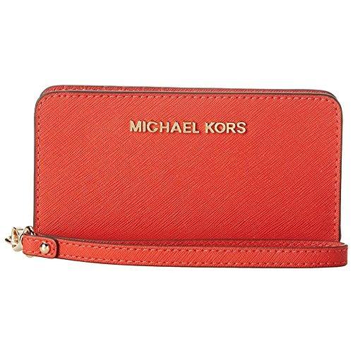 Michael Michael Kors 'Large Jet Set' Saffiano Leather Phone Wristlet Orange New