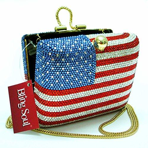 American Flag Clutch Bag – USA Design Evening Purse with Swarovski Crystals