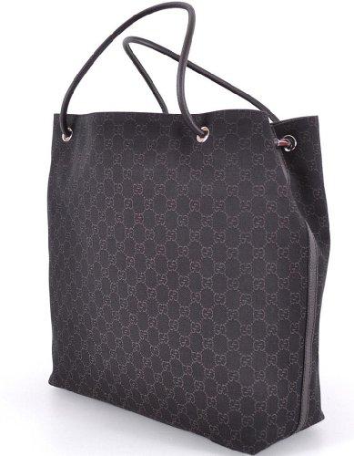 Gucci Large Monogram Logo Brown Gifford Jacquard Tote Shopper Bag