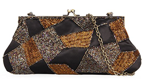 Grace Angel Women's Retro Antique Beads Evening Clutch Bronze Chain Bag GA16275