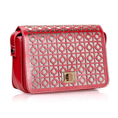 BMC Womens PU Leather Perforated Cutout Pattern Silver Shine Shoulder Handbag