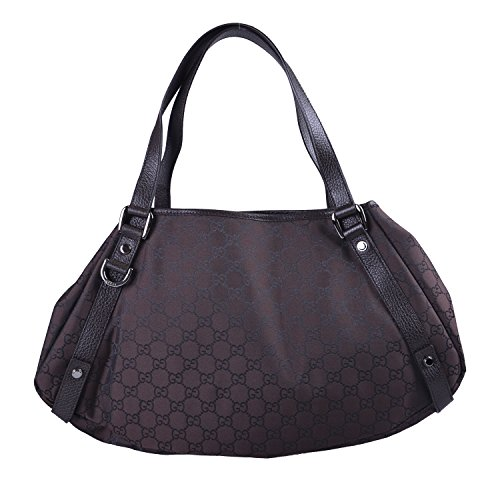 Gucci Women's Brown Leather Trimmed Hobo Shoulder Bag Handbag