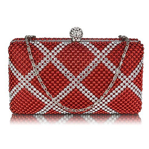 Ladies Red Crystals Beads Clutch Bag Box Evening Handbag KCMODE