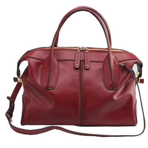 Fineplus Women's Glamour Hobo Leather Shoulder Bag Small Wine-red