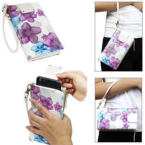 JAVOedge Metallic Floral Universal Pullout Phone Wallet for Smartphones (Fits up to 5.5″ Size)