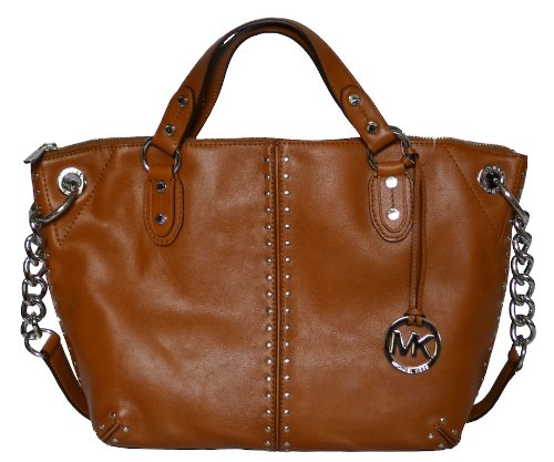 MICHAEL By Michael Kors Luggage Leather Astor Chain Satchel Tote Handbag