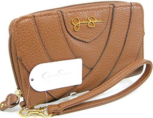 Jessica Simpson Wristlet Zip Around Wallet Purse Hand Bag Whiskey Tan Amelie