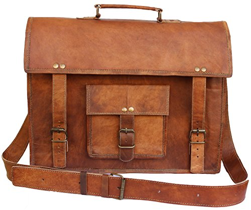 """Leather Bags Now 15"""" Inches Brown Classic Adult Unisex Cross Shoulder Front Pocket Top Handle Genuine Leather Messenger Laptop Briefcase Bag Satchel"""