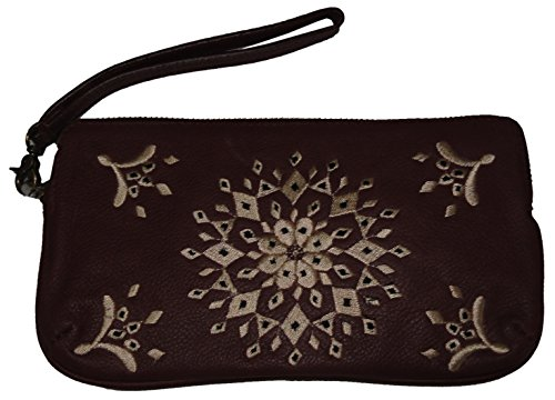 Lucky Women's Casbah Leather Wristlet, Color Black, Size 8.5″X5″