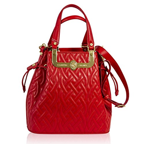 Valentino Orlandi Italian Designer Red Quilted Leather Gilded Large Bucket Bag