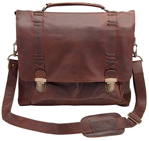 MAHI Leather Satchel 15″ Laptop capacity/Messenger Bag in Vintage Brown