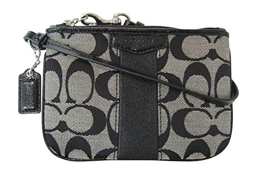 Coach Signature Stripe Black White Small Wristlet F51158 SBWBK