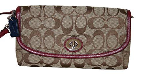 Coach Park Signature Large Flap Wrislet Silver/ Khaki/ Crimson 51820