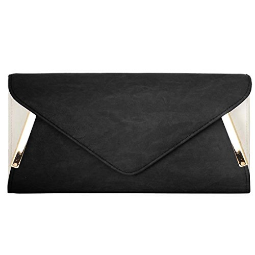 BMC Womens PU Leather Envelope Flap Metal White Accent Fashion Clutch Handbag