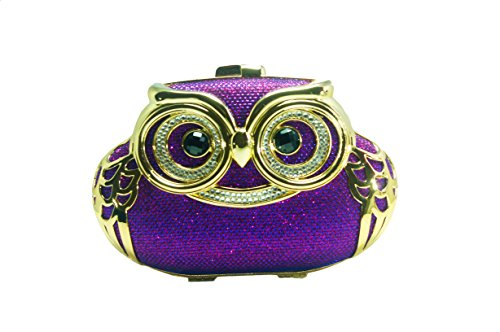 Milanblocks Womens Exquisite Crystals Bridal Evening Bag Owl Glaring Clutch