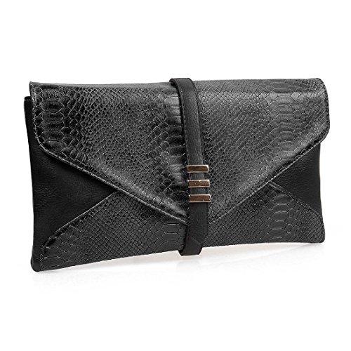 BMC Womens Two-Toned Faux Leather Snakeskin Envelope Clutch Fashion Handbag
