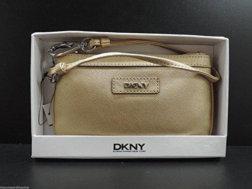 Dkny Leather Wristlet Donna Karan New York Gold Clutch Handbag W Box