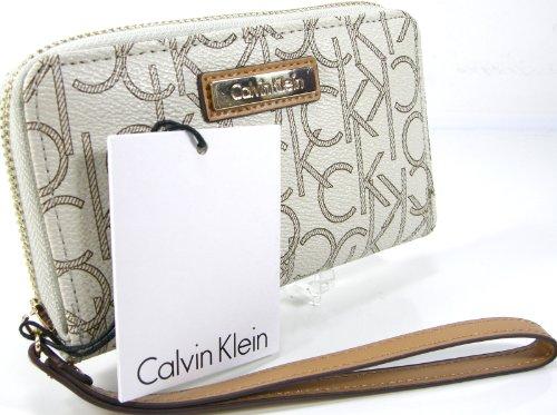 Calvin Klein Wristlet Wallet Purse Hand Bag Tech Phone Case Genuine Leather