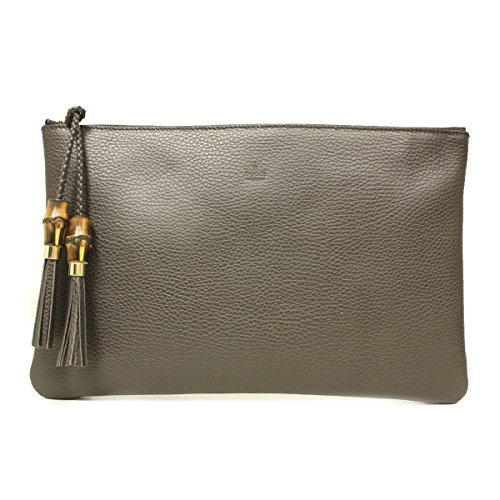 Gucci 376858 Brown Leather Bamboo Braided Tassel Large Clutch Bag