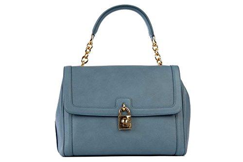 DOLCE&GABBANA women's leather handbag shopping bag purse blu