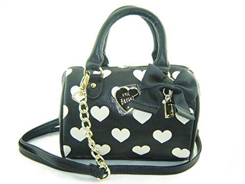 Betsey Johnson Mini Speedy Crossbody Handbag Hearts Black Multi