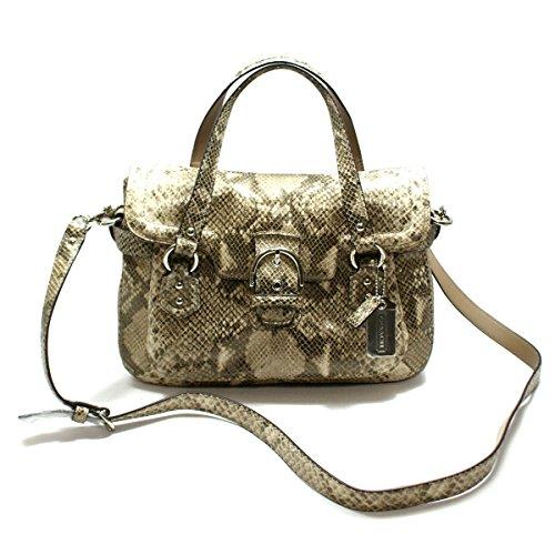 Coach Compton Exotic Leather Small Flap Satchel/ Swing/ Crossbody Bag (Khaki) #27895