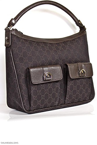 Gucci Brown Large Hobo Handbag with Brown Leather and Two Pockets