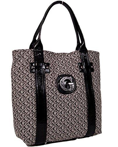 GUESS Niagara Falls Large Tote Bag Handbag (Black / Gray)