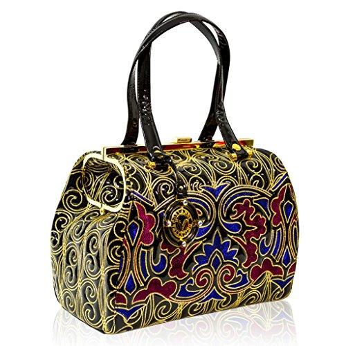Valentino Orlandi Italian Designer Blue/Red w/Gold Embroidery Leather Large Bag