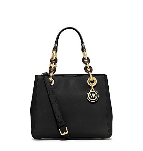 Michael Kors Cynthia Small Leather Satchel in Black