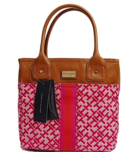Women's Tommy Hilfiger Small Tote Handbag (Pink Alpaca With Orange Center Stripe)