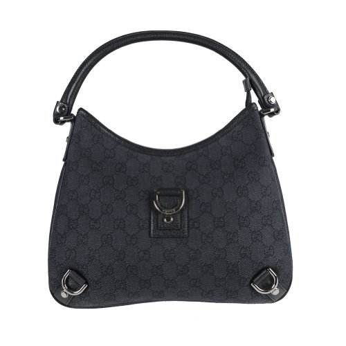 Gucci Women's Black Canvas Leather Trimmed Guccissima Print Hobo Shoulder Bag