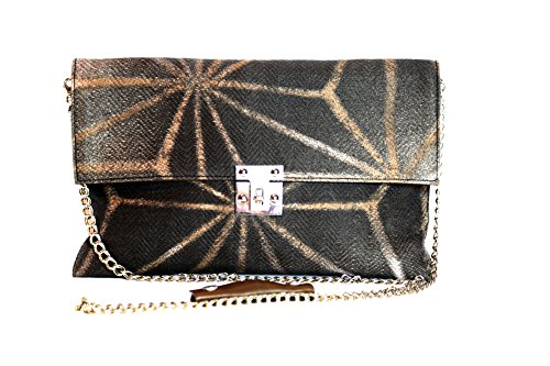Marni Women's Brown Canvas Printed Clutch Shoulder Bag with Chain