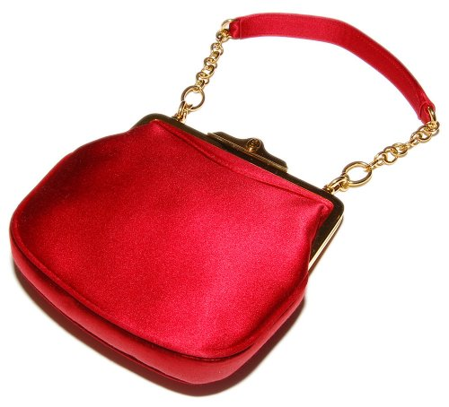 Polo Ralph Lauren Purple Label Womens Red Gold Silk Purse Bag Clutch Italy