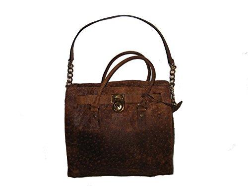 Michael Kors Mocha Hamilton Embossed Genuine Leather NS Large Satchel Tote