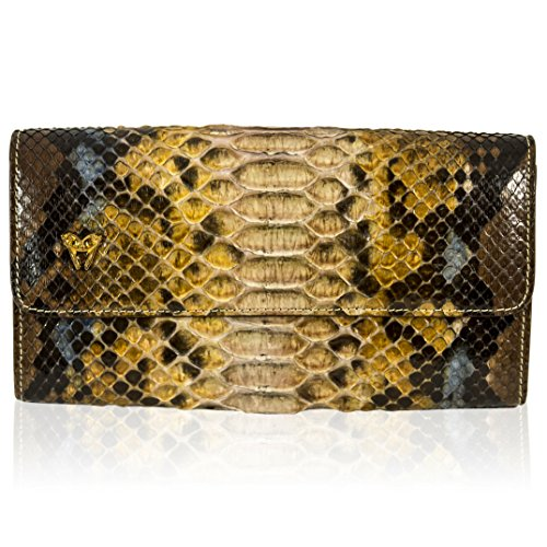 Ghibli Italian Designer Imperial Topaz Python Leather Large Wallet Clutch