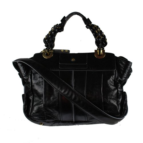 New Authentic Chloe Heloise Wrinkle Leather Satchel Tote Black