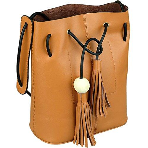 Yahoho Women's Cowhide Leather Tassel Shoulder Bag with A Detachable Leopard Print Clutch Brown