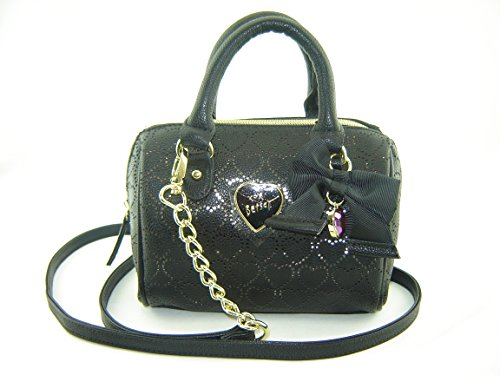Betsey Johnson Perforated Heart Mini Barrel Crossbody Handbag Black
