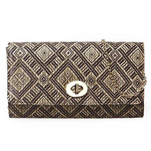 BMC Womens Woven Straw Diamond Pattern Envelope Flap Turn Lock Clutch Handbag