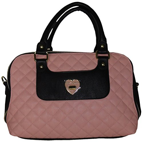 "Betsey Johnson Women's Quilted ""Heart Turn Lock"" Satchel Style Handbag, Blush/Black"