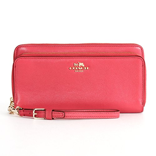 Coach 52103 Madison Leather Double Accordion Zip Wallet Wristlet in Loganberry