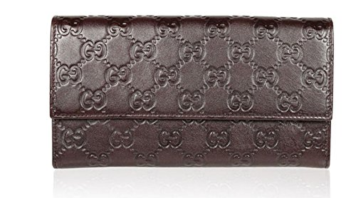 Gucci Women's GG Guccissima Brown Leather Continental Wallet Clutch