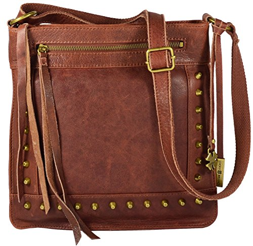 Lucky Brand Studded Leather Cross-body Shoulder Bag