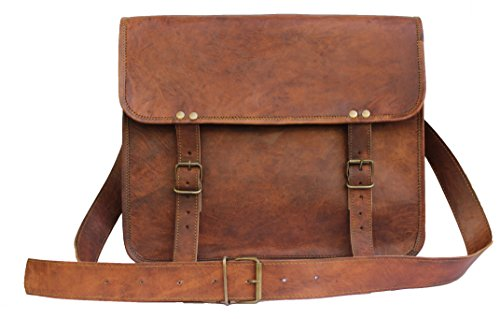 """Leather Bags Now 14"""" Inches Classic Adult Unisex Cross Shoulder 100% Genuine Leather Messenger Laptop Briefcase Bag Satchel Brown"""