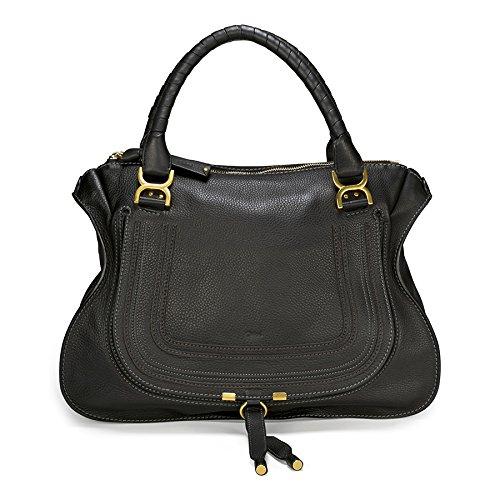 Chloe Marcie Large Leather Shoulder Handbag – Black