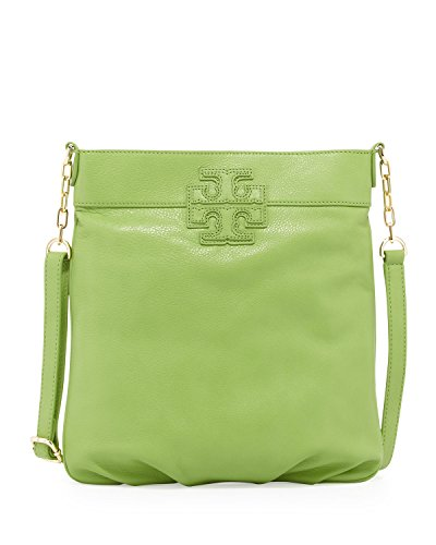Tory Burch Pebbled Leather Stacked T Book Cross-Body in Fiji Green