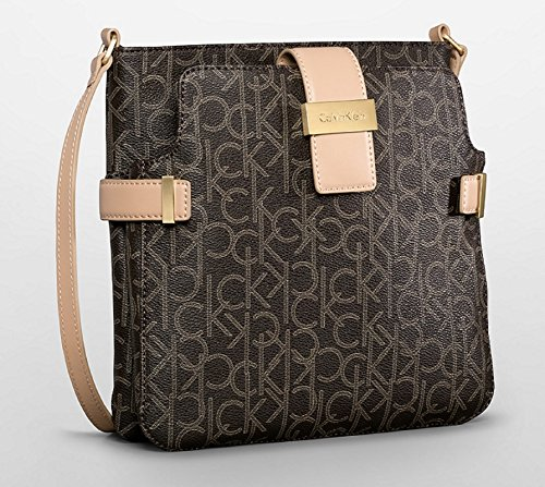 Calvin Klein Jordan Double Pocket Crossbody Bag Handbag (Brown)