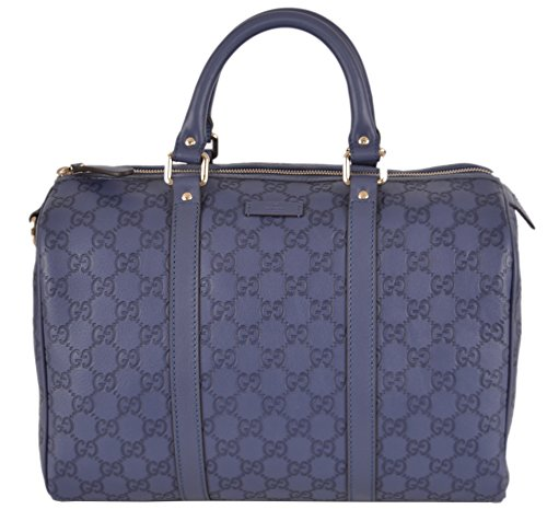 GUCCI Women's 265697 Dark Periwinkle Leather GG Guccissima Boston Purse Satchel