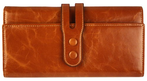 Heshe Women's Wax Genuine Leather Long Clutch Wallet Purse Card Holder Zipper Pocket